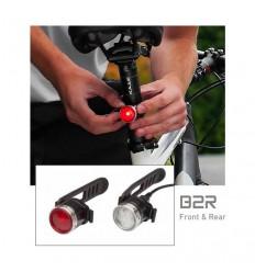 Set semnalizatoare bicicleta reincarcabile LED LENSER B2R alb si rosu USB