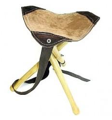 Scaun 3 picioare lemn cu piele si curea transport