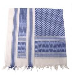 Shemagh alb-albastru bumbac