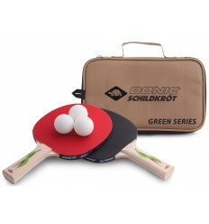 Set tenis de masa 2 palete + 3 mingi + geanta Allround Green Series 400