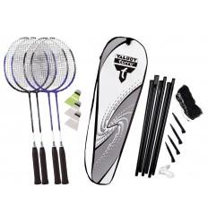 Set badminton cu fileu 4 rachete Fighter cu husa