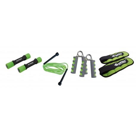 Set fitness 2 gantere, 2 greutati, 2 flexori, coarda de sarit