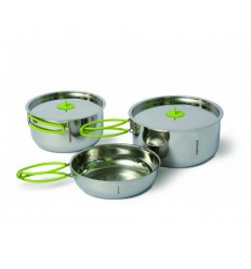 Set vase camping inoxidabile Pinguin Duo Steel S