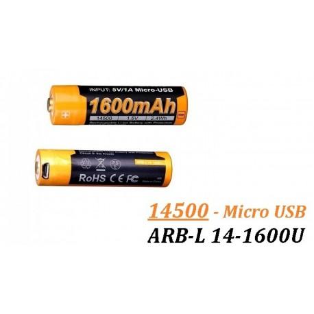 Acumulator cu Micro-USB Fenix 14500 - 1600mAh - ARB-L 14-1600U