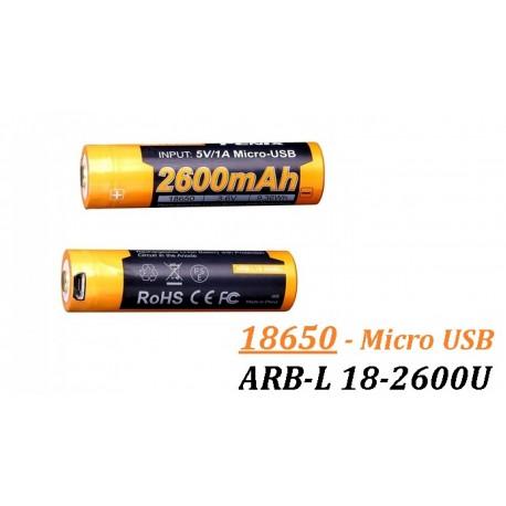 Acumulator cu Micro-USB Fenix 18650 - 2600 mAh - ARB-L 18-2600U