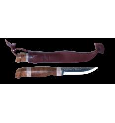 Cutit Marttiini Lumberjack Reindeer horn, lama 100 mm, otel carbon, cu teaca piele