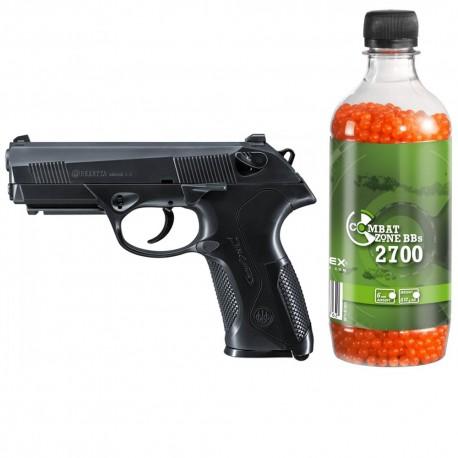 Set pistol airsoft arc si flacon 2700 buc bile 0.12 g, 0.5 jouli, Umarex Beretta PX4 Storm