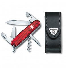 Set Victorinox Spartan rosu transparent + teaca