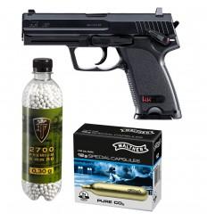 Set pistol airsoft 2 jouli + 10 capsule CO2 + flacon 2700 buc bile 0.30 g, Umarex HK USP 6 mm