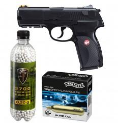 Set pistol airsoft 2.8 jouli + 10 capsule CO2 + flacon 2700 buc bile 0.20 g, Umarex Ruger P345