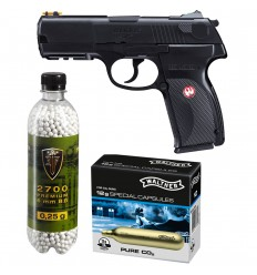 Set pistol airsoft 2.8 jouli + 10 capsule CO2 + flacon 2700 buc bile 0.25 g, Umarex Ruger P345