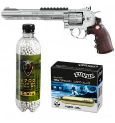 Set revolver airsoft 4 jouli + 10 capsule CO2 + flacon 2700 buc bile 0.30 g, Umarex Ruger Superhawk .8 CR