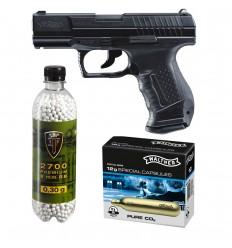 Set pistol airsoft 2 jouli + 10 capsule CO2 + flacon 2700 buc bile 0.30 g, Walther P99 DAO