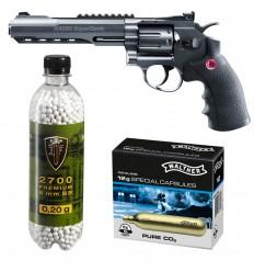 Set revolver airsoft 3 jouli + 10 capsule CO2 + flacon 2700 buc bile 0.20 g, Umarex Ruger Superhawk .6