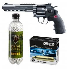 Set revolver airsoft 3 jouli + 10 capsule CO2 + flacon 2700 buc bile 0.25 g, Umarex Ruger Superhawk .6