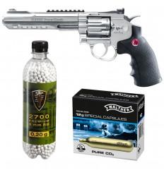 Set revolver airsoft 3 jouli + 10 capsule CO2 + flacon 2700 buc bile 0.20 g, Umarex Ruger Superhawk .6 CR