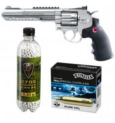 Set revolver airsoft 3 jouli + 10 capsule CO2 + flacon 2700 buc bile 0.25 g, Umarex Ruger Superhawk .6 CR