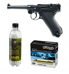 Set pistol airsoft 2 jouli + 10 capsule CO2 + flacon 2700 buc bile 0.20 g, Umarex Legend P08 full metal