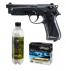 Set pistol airsoft 1.8 jouli + 10 capsule CO2 + flacon 2700 buc bile 0.20 g, Umarex Beretta 90Two, 6 mm