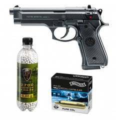 Set pistol airsoft 1.6 jouli + 10 capsule CO2 + flacon 2700 buc bile 0.20 g, Umarex Beretta 92FS, calibru 6 mm