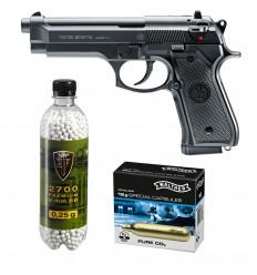 Set pistol airsoft 1.6 jouli + 10 capsule CO2 + flacon 2700 buc bile 0.20 g, Umarex Beretta 92FS, calibru 6 mm