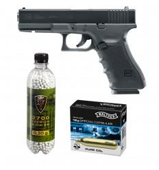 Set pistol airsoft 2 jouli + 10 capsule CO2 + flacon 2700 buc bile 0.20 g, Umarex Glock 22 Gen4, 6 mm