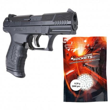Set pistol airsoft arc si 2000 buc bile, 6 mm, 0.20 g, capacitate incarcator 20 bile, Umarex Walther P22