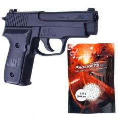 Set pistol airsoft arc, 2000 buc bile 6 mm 0.20 g, 4 x tinta de tras, SRC GA9725