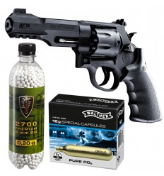 Set revolver airsoft 1.6 jouli + 10 capsule CO2 + flacon 2700 buc bile 0.20 g, Umarex Smith & Wesson M&P R8