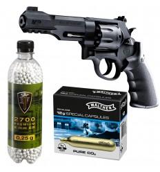 Set revolver airsoft 1.6 jouli + 10 capsule CO2 + flacon 2700 buc bile 0.25 g, Umarex Smith & Wesson M&P R8
