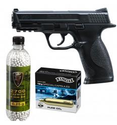 Set pistol airsoft 2 jouli + 10 capsule CO2 + flacon 2700 buc bile 0.25 g, Umarex Smith & Wesson M&P 40 calibru 6 mm
