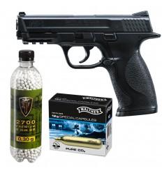 Set pistol airsoft 2 jouli + 10 capsule CO2 + flacon 2700 buc bile 0.30 g, Umarex Smith & Wesson M&P 40 calibru 6 mm
