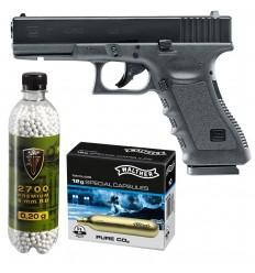 Set pistol airsoft Umarex Glock 17 + 10 capsule CO2 + flacon 2700 buc bile 0.20 g