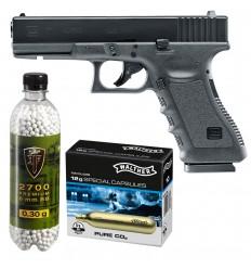 Set pistol airsoft Umarex Glock 17 + 10 capsule CO2 + flacon 2700 buc bile 0.30 g