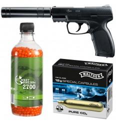 Set pistol airsoft 2 jouli + 10 capsule CO2 + flacon 2700 buc bile 0.12 g, Umarex Combat Zone COP SK cu amortizor