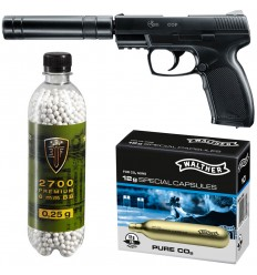 Set pistol airsoft 2 jouli + 10 capsule CO2 + flacon 2700 buc bile 0.20 g, Umarex Combat Zone COP SK cu amortizor