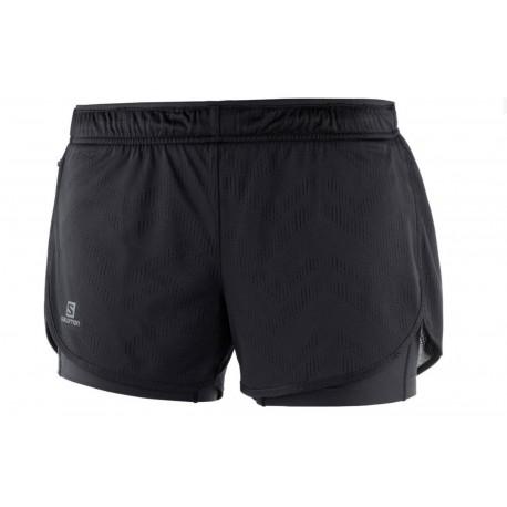 Pantaloni Alergare Salomon Agile 2In1 Short Femei Negru