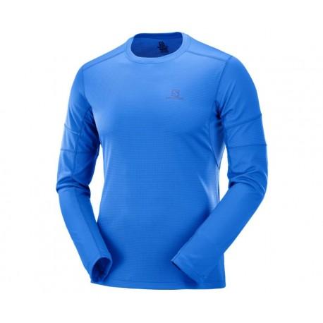 Bluza Alergare Salomon Agile Ls Tee Barbati Albastru