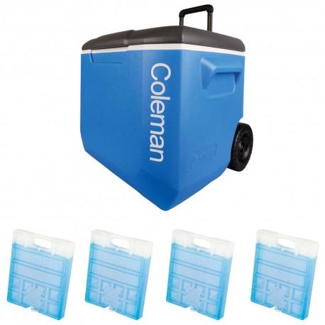 Set lada frigorifica cu roti Coleman 56 litri cu 4 pastile de racire M20