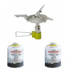 Set arzator drumetie camping drumetie Pinguin Surpass Steel 3500 W si doua butelii gaz 450 grame