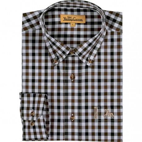 Camasa barbati 100% bumbac, pattern carouri Verney Carron Eric maron - noir