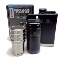 Set inoxidabil Stanley Adventure cu butelca si pahare, negru