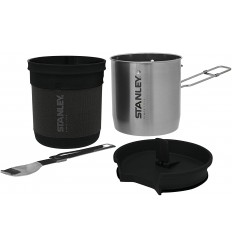 Set vase gatit Stanley Compact Cook Set, inoxidabil, 0.7 litri, cu spork