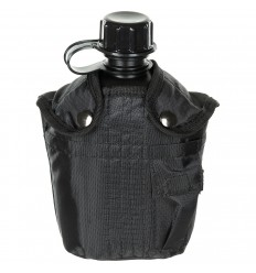 Bidon 1 litru cu husa neagra, BPA free, MFH